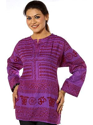 Purple Kurti Top with Sanatan Dharma Mantra
