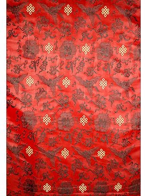 Auburn Brocade Fabric with Tibetan Endless Knot and Auspicious Motifs