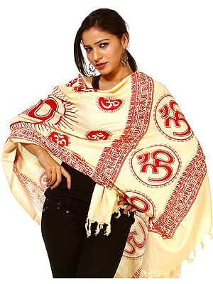 Cream Sanatana Dharma Prayer Shawl with Large Printed Om