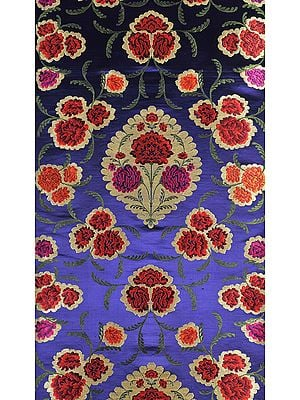 Dazzling-Blue Brocade Fabric from Banaras with Woven Roses and Zari Weave by Hand