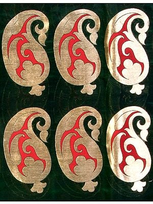 Green Banarasi Katan Georgette Fabric with Woven Paisleys in Golden Thread