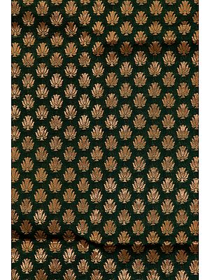 Green Banarasi Katan Georgette Fabric with Woven Lotuses