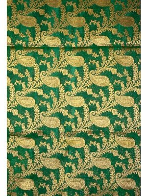 Green Fabric from Banaras with All-Over Woven Paisleys