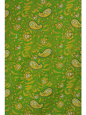 Green Khadi Fabric with Printed Paisleys