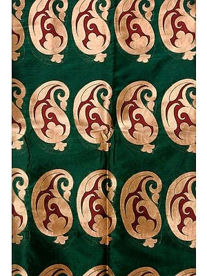 Greener-Pastures Banarasi Katan Georgette Fabric with Woven Large Paisleys in Golden Thread