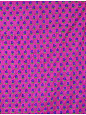 Hot-Pink Banarasi Katan Fabric with All-Over Woven Flowers