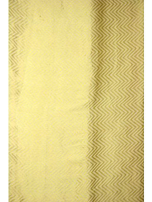 Ivory Chiffon Handloom Fabric with Golden Thread Weave