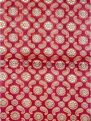 Purple Katan Silk Fabric from Banaras with Woven Paisleys in Golden Thread