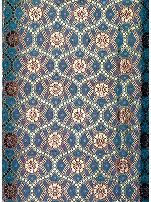 Sea-Green Fabric from Banaras with Golden Thread Weave