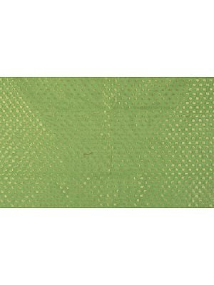 Light-Green Brocade Fabric from Banaras with All-Over Woven Bootis and Golden Border