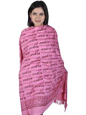 Pink Jai Shri Rama Sanatana Dharma Prayer Shawl