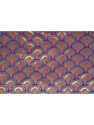 Purple Dodama Fabric from Banaras with Woven Flowers in Teal and Gold