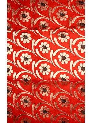Red Banarasi Katan Georgette Fabric with Woven Flowers in Golden Thread