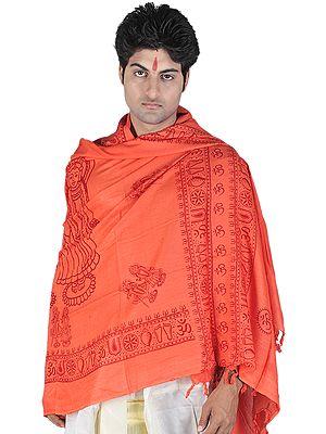Saffron Prayer Shawl of Radha Krishna