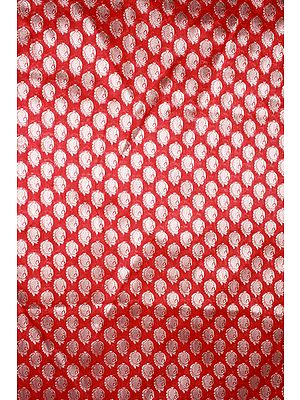 Red Brocade Fabric from Banaras with Ornate Paisleys Woven in Golden Thread