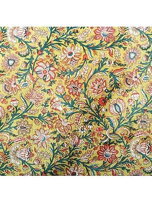 Multi-Color Floral Printed Silk Fabric on an Olive Base