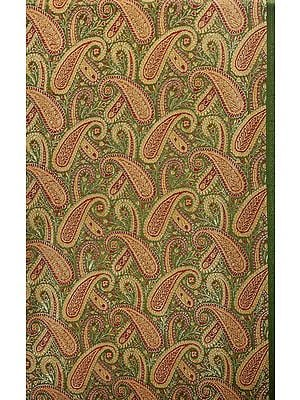 Green Fabric from Banaras with Paisleys Woven in Golden Thread