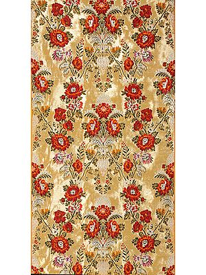 Golden Brocaded Floral Fabric Hand-woven in Banaras