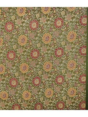 Olive Green Banarasi Brocade Fabric with Woven Flowers