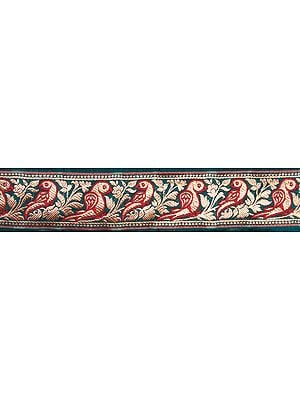 Green Banarasi Fabric Border with Woven Parrots in Golden Thread