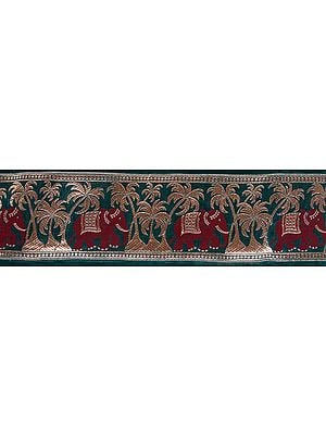 Green Banarasi Fabric Border with Woven Elephants and Palm Trees