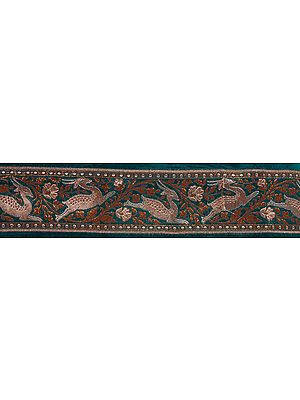 Green Banarasi Fabric Border with Woven Frolicking Deer