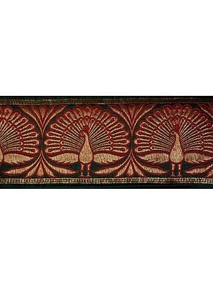 Banarasi Fabric Border with Woven Peacocks
