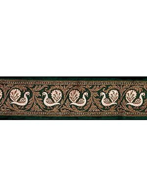 Green Banarasi Fabric Border with Woven Birds