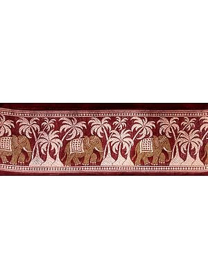 Maroon Banarasi Fabric Border with Woven Elephants and Palm Trees