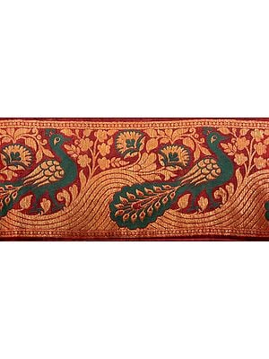 Maroon Banarasi Fabric Border with Hand-woven Peacocks in Green and Gold