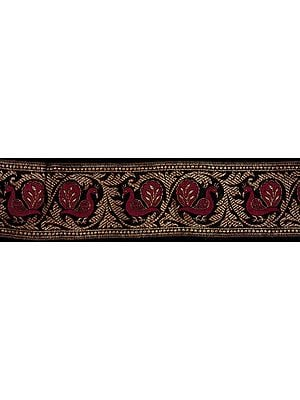 Black Banarasi Fabric Border with Woven Peacocks