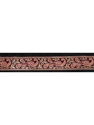 Black Banarasi Fabric Border with Woven Stylized Peacocks