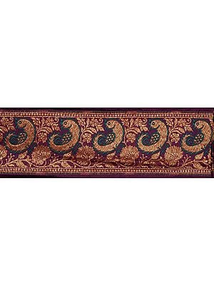 Purple Banarasi Fabric Border with Woven Birds