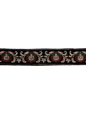 Black Velvet Border with Floral Embroidery and Sequins