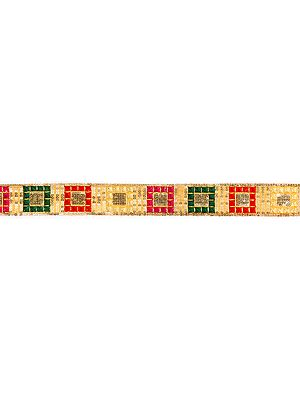 Golden Narrow Border with Embroidered Squares and Sequins