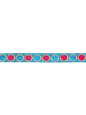 Robin-Egg Blue Narrow Border with Embroidered Spirals