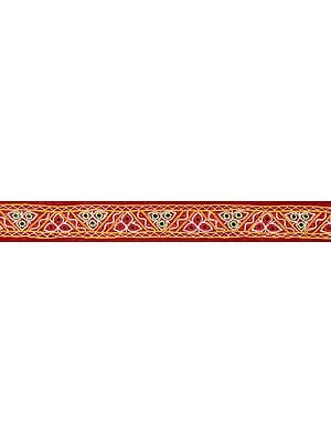 Maroon Fabric Border from Kutch with Mirros