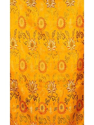 Amber Thangka Brocade from Banaras with Woven Flowers