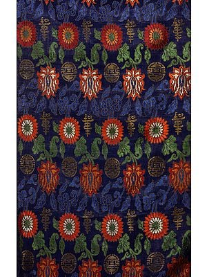 Navy-Blue Thangka Brocade from Banaras with Woven Flowers