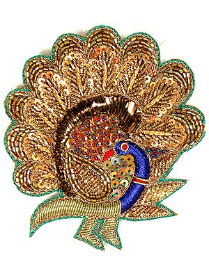 Multi-Color Designer Peacock Patch with Sequins and Zardozi Work