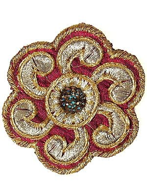 Set of 5 Magenta Floral Patches with Golden Thread Work and Sequins