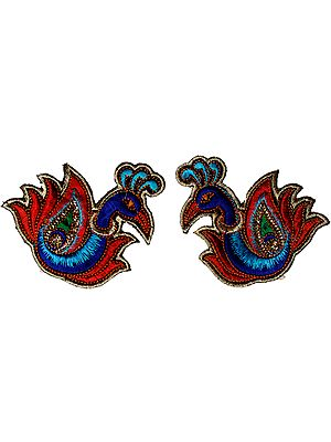 Pair of Blue and Red Peacock Patches with Threadwork and Sequins