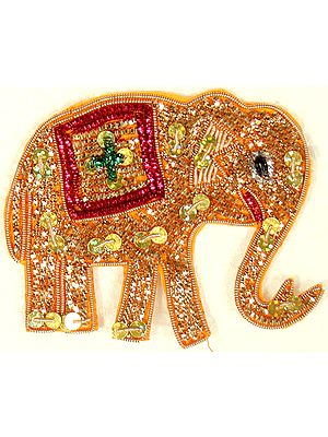 Pair of Golden Elephant Patches with Sequins and Beads