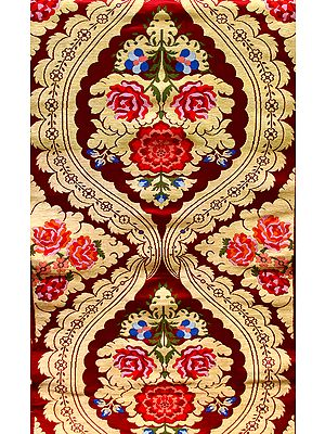 Tibetan-Red Brocade Fabric with Woven Roses