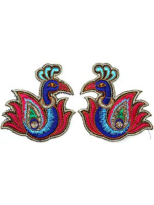 Pair of Multi-Color Embroidered Peacocks