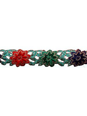 Floral Cutwork Border with Metallic Thread Embroidery and Sequins