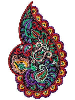 Multicolor Large Embroidered Paisley Patch with Sequins