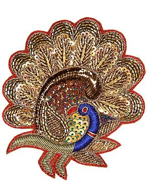 Multi-Color Embroidered Peacock Patch with Zardozi Work