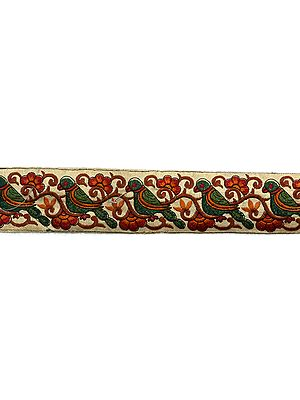 Beige Fabric Border with Embroidered Parrot and Flowers