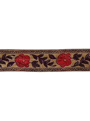 Khaki Fabric Border with Crewel  Embroidered Flowers and leaves